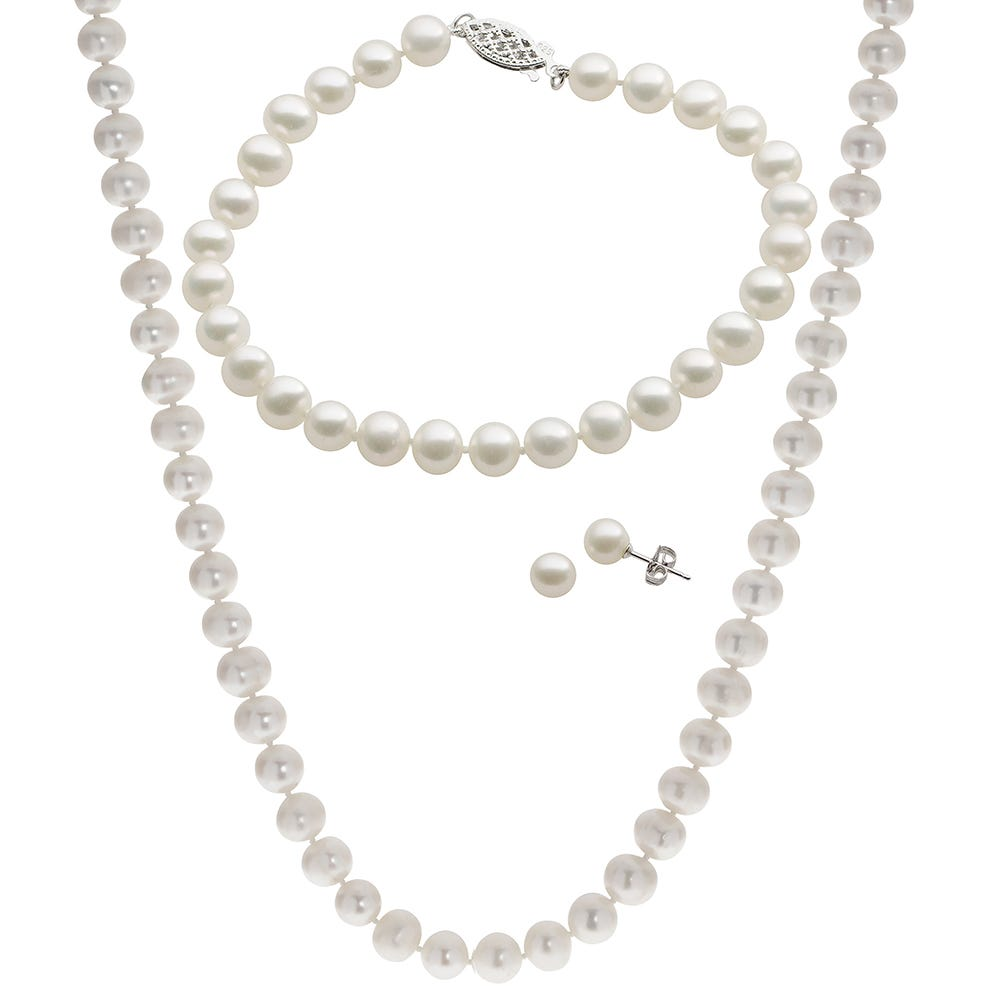 Imperial Pearl Sterling Silver 3-Piece White Freshwater Pearl Jewelry Set