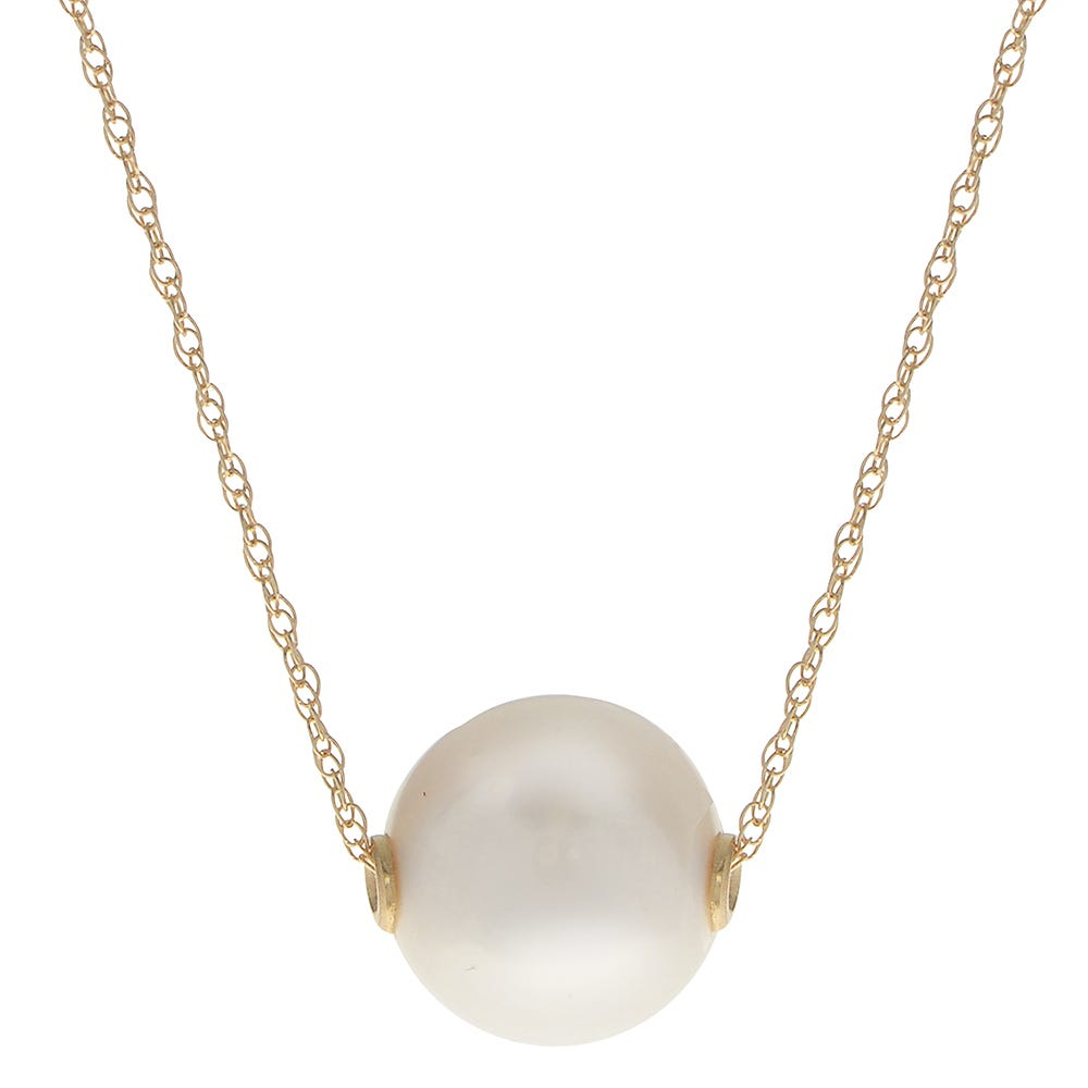 Imperial Pearl 14k Yellow Gold White Freshwater Pearl Necklace (9-10 mm)