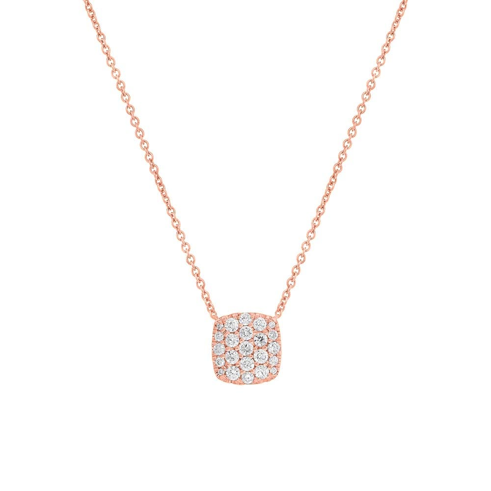 Shy Creation Diamond 0.52ctw. Pave Cushion Pendant in 14k Rose Gold SC22004401