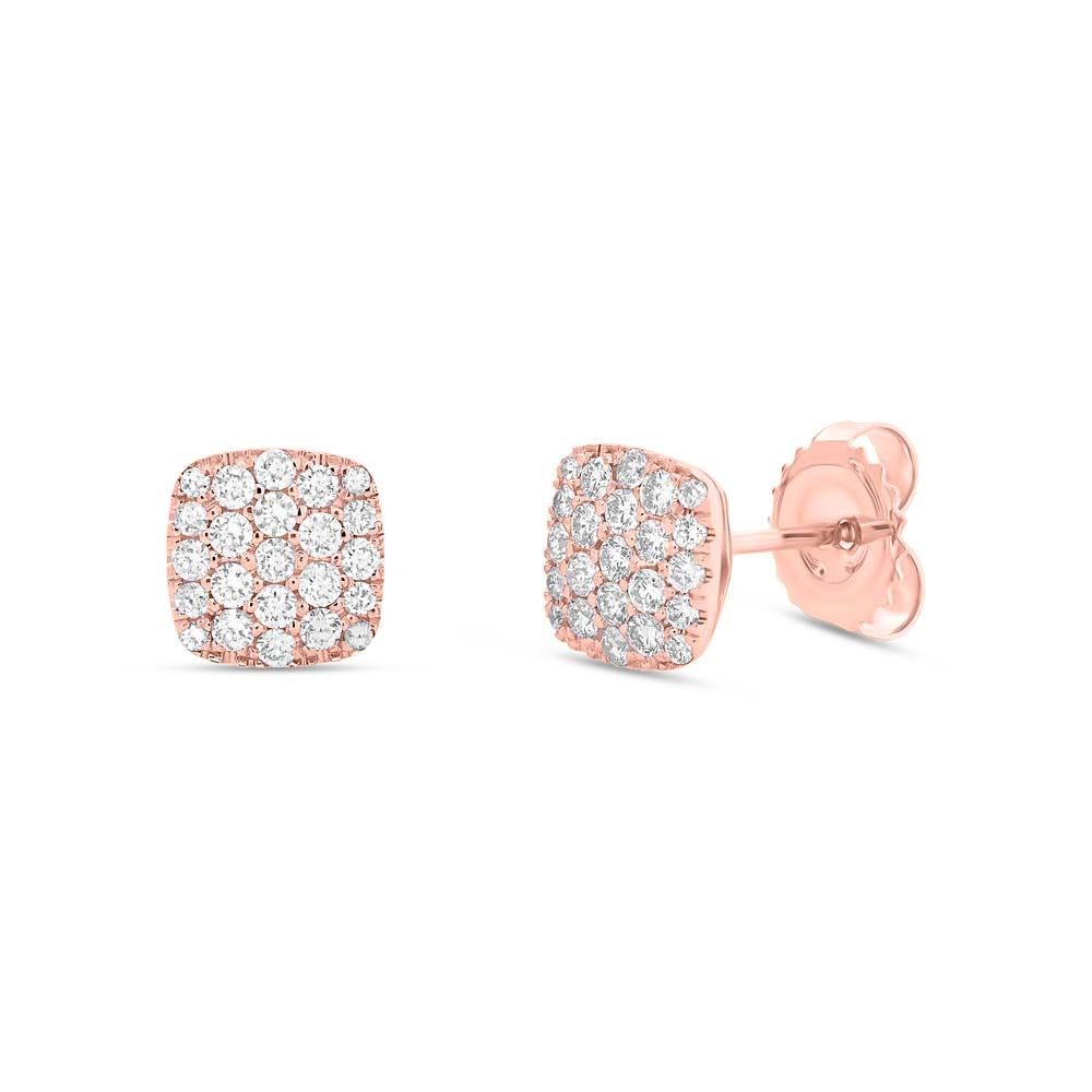 Shy Creation: Diamond Pave 1/2ctw. Cushion-Shape Earrings in 14k Rose Gold