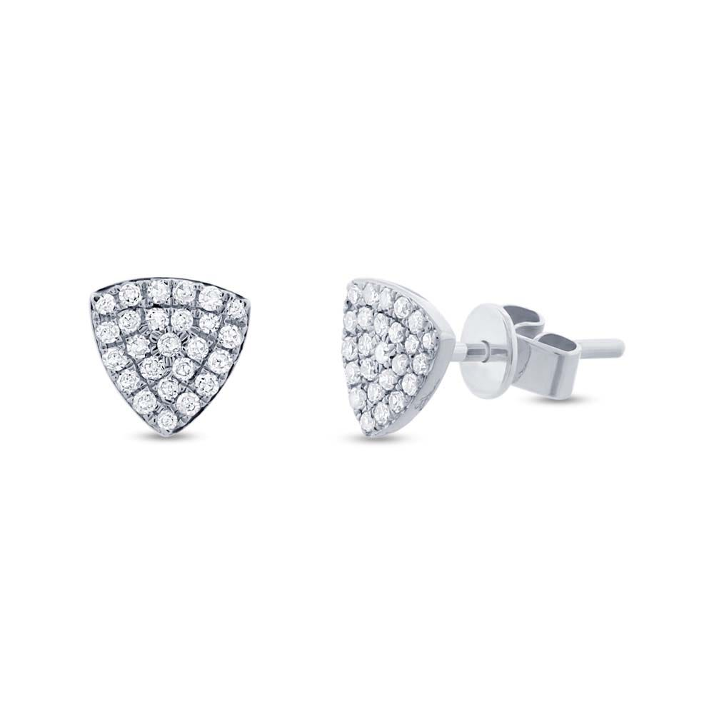 Shy Creation: Diamond Pave Triangle Cluster Stud Earrings in 14k White Gold