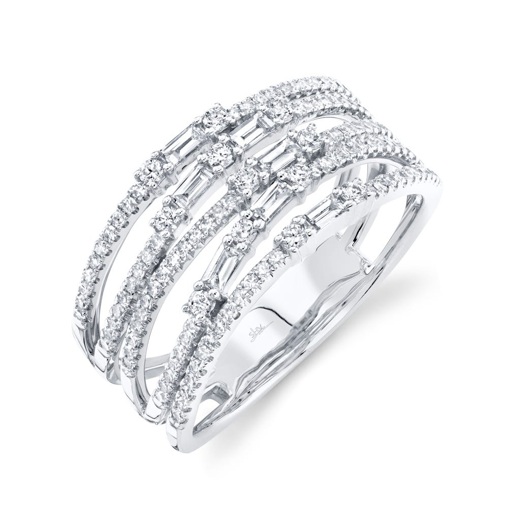 Shy Creation  Multi-Row Baguette & Round Diamond Ring in 14k White Gold SC36213806V2