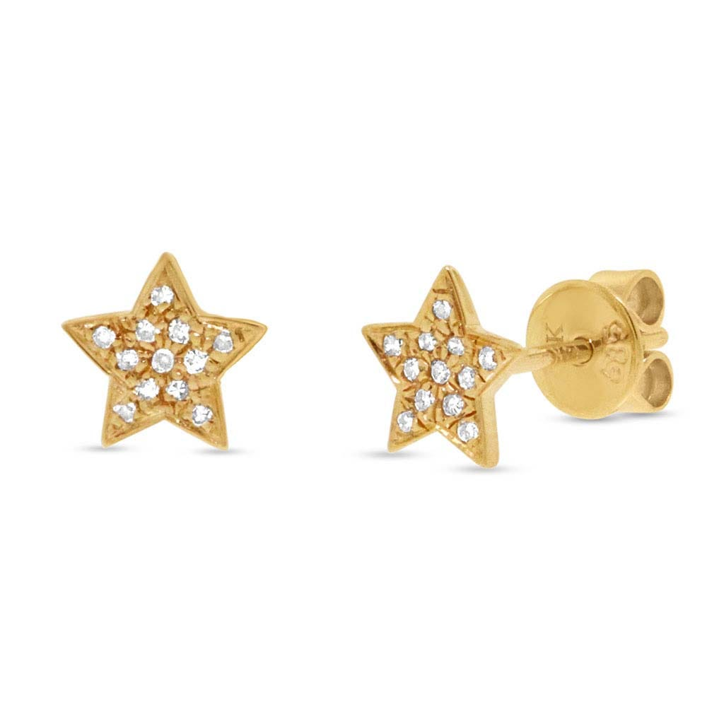 Shy Creation: Diamond Star Cluster Stud Earrings in 14k Yellow Gold