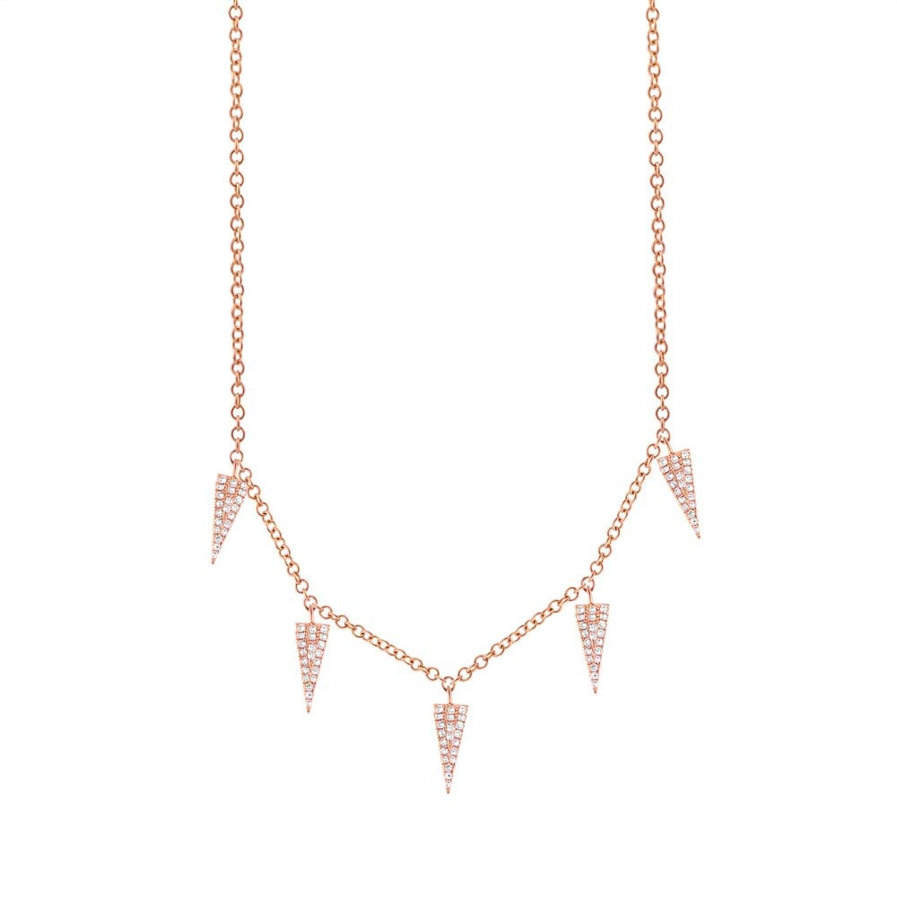 Shy Creation Diamond 1/4ctw. Pave Triangle Necklace in 14k Rose Gold SC55001894