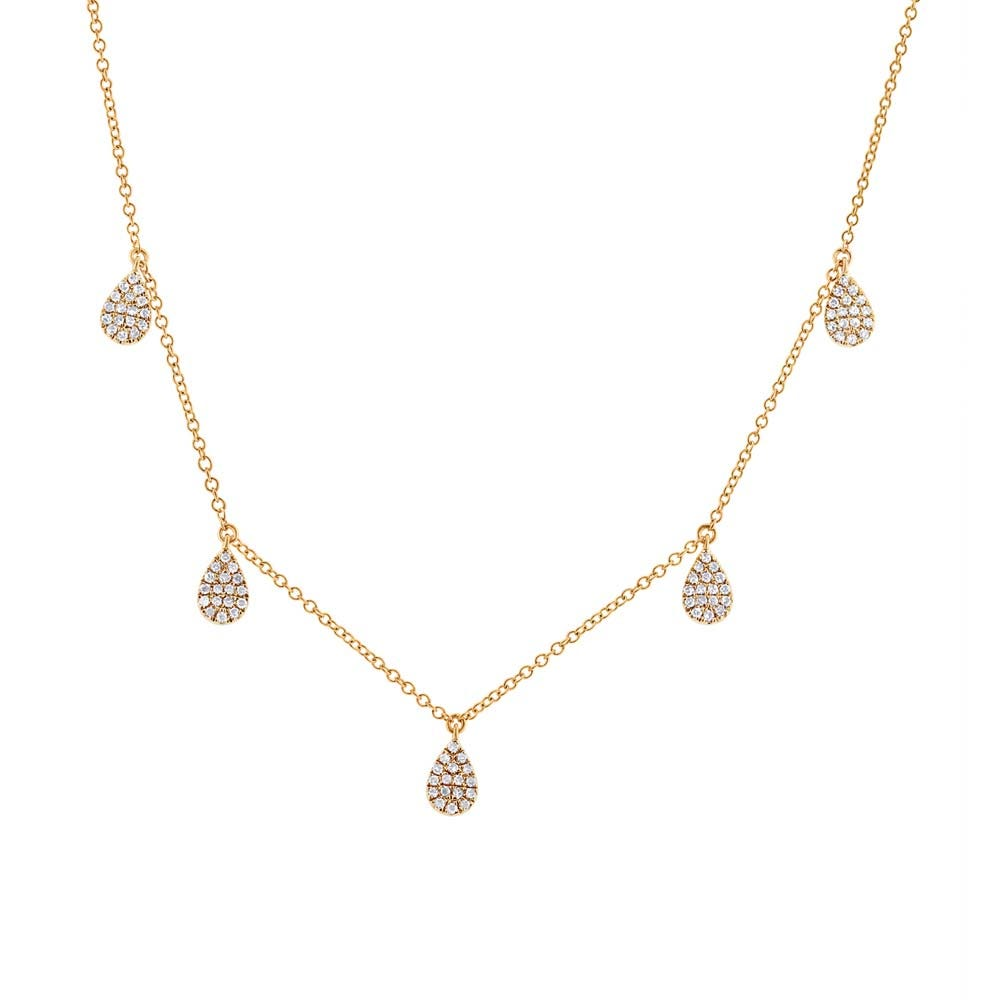 Shy Creation Diamond 1/4ctw. Pave Pear Necklace in 14k Yellow Gold SC55002077