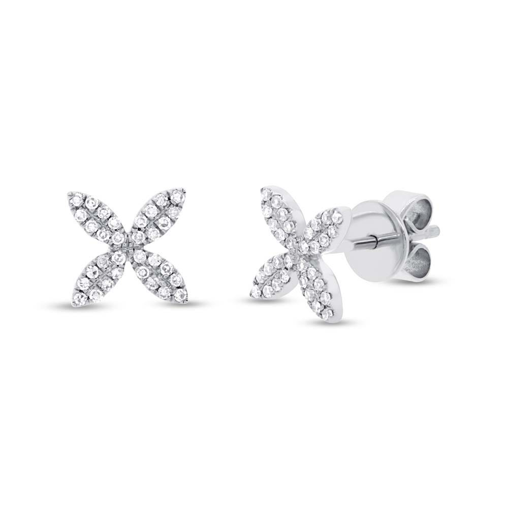 Shy Creation: Diamond Flower X Cross Stud Earrings in 14k White Gold
