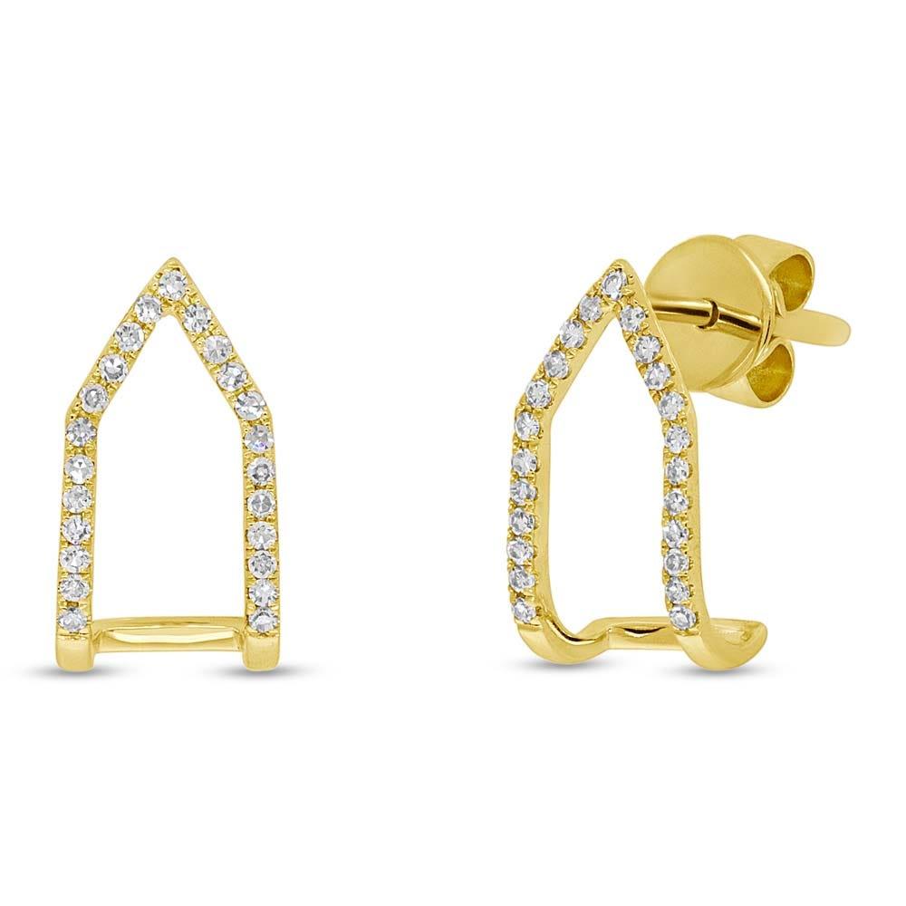 Shy Creation Diamond Open Wraparound Stud Earrings in 14k Yellow Gold SC55002580