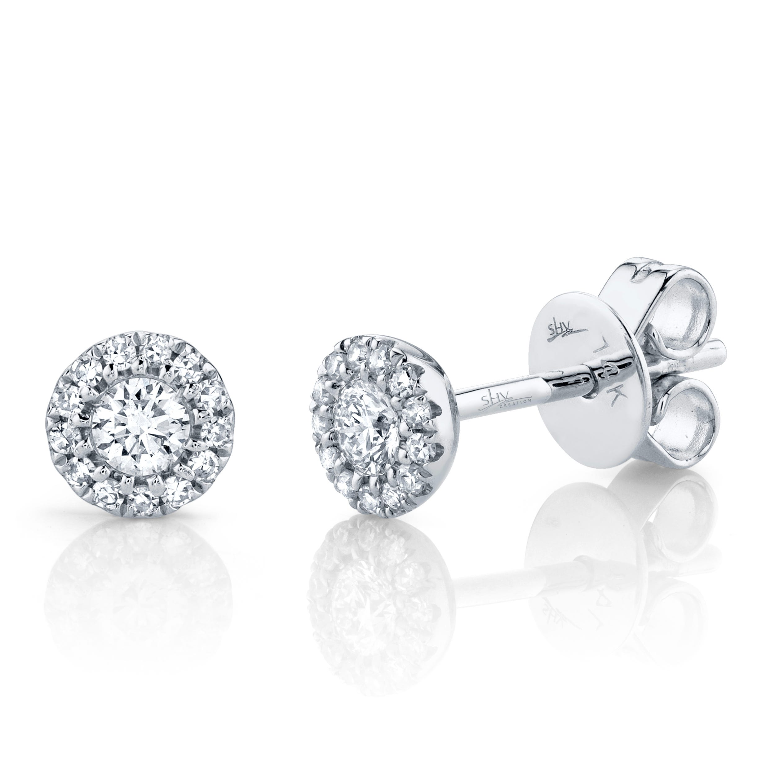 Shy Creation: Diamond Halo 1/4ctw. Stud Earrings in 14k White Gold