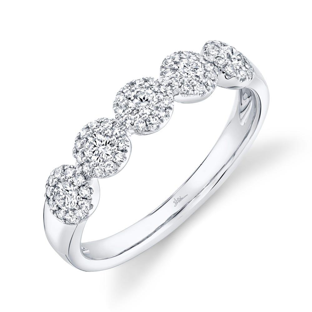 Shy Creation  Multi-Cluster Halo Diamond Fashion Ring in 14k White Gold SC55002621