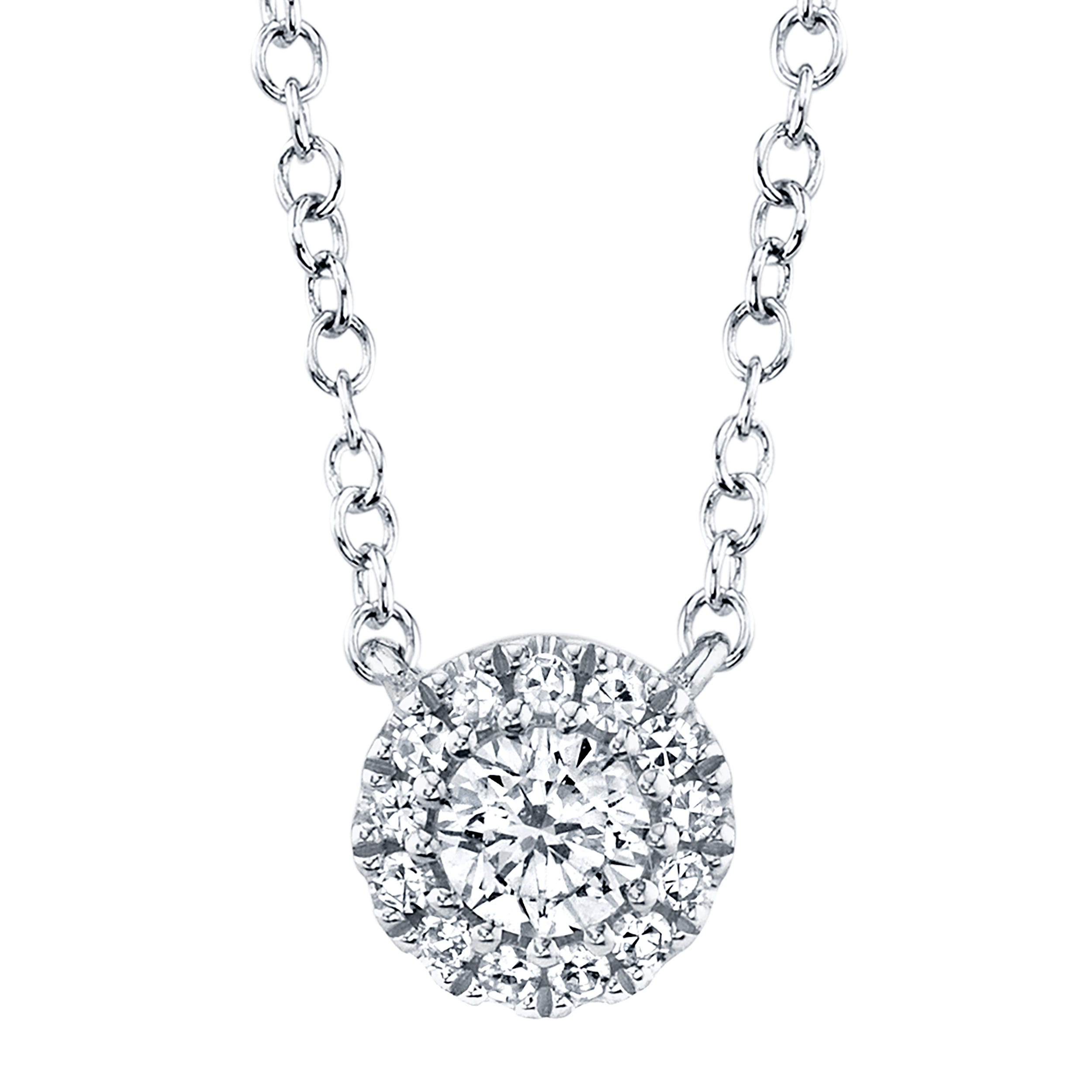 Shy Creation Diamond Halo Drop Pendant in 14k White Gold SC55002695