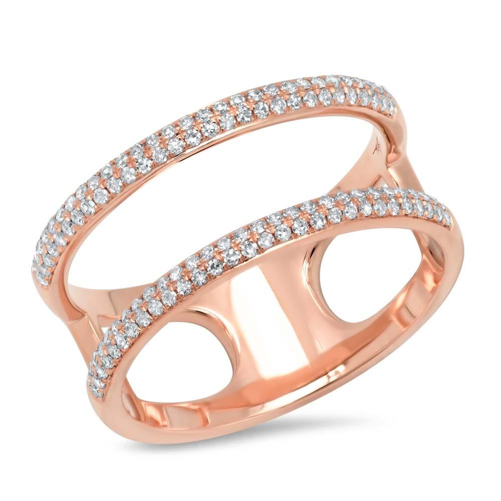 Shy Creation Diamond Split Fashion Ring in 14k Rose Gold SC55002847V2