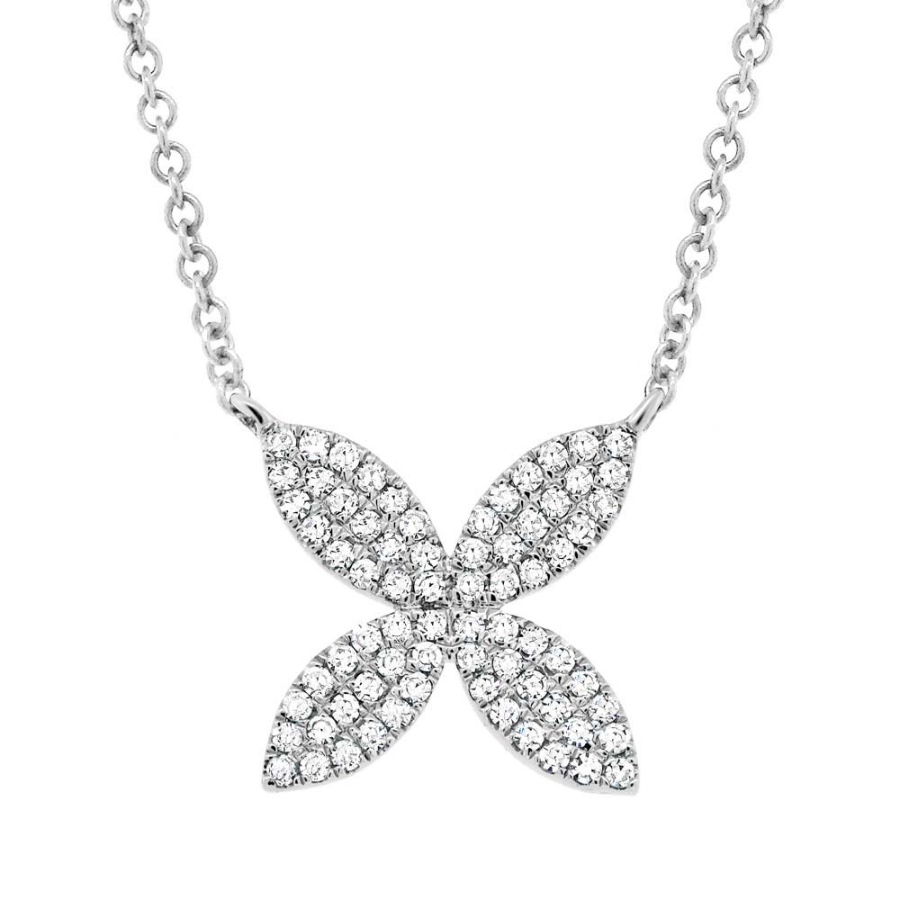 Shy Creation Diamond Flower X Cross Pendant in 14k White Gold SC55002921