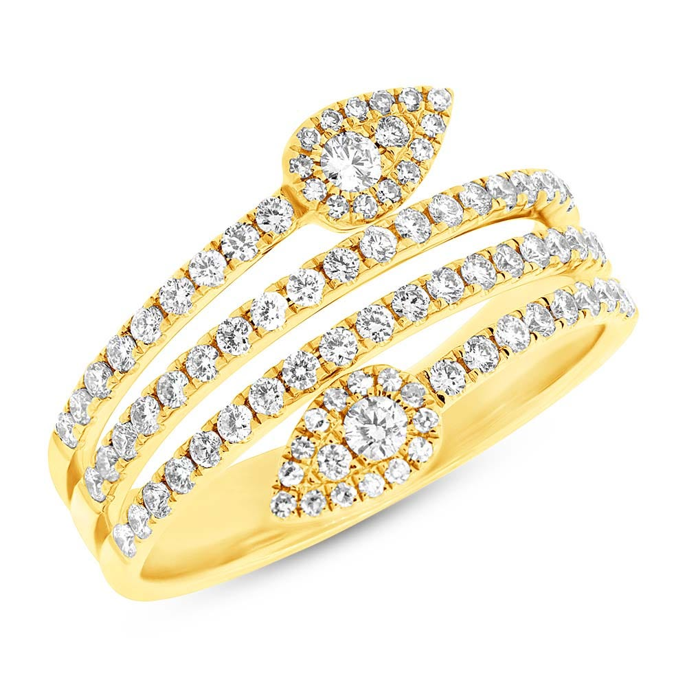Shy Creation Diamond Multi-Layer Leaf Wrap Ring in 14k Yellow Gold SC55004103