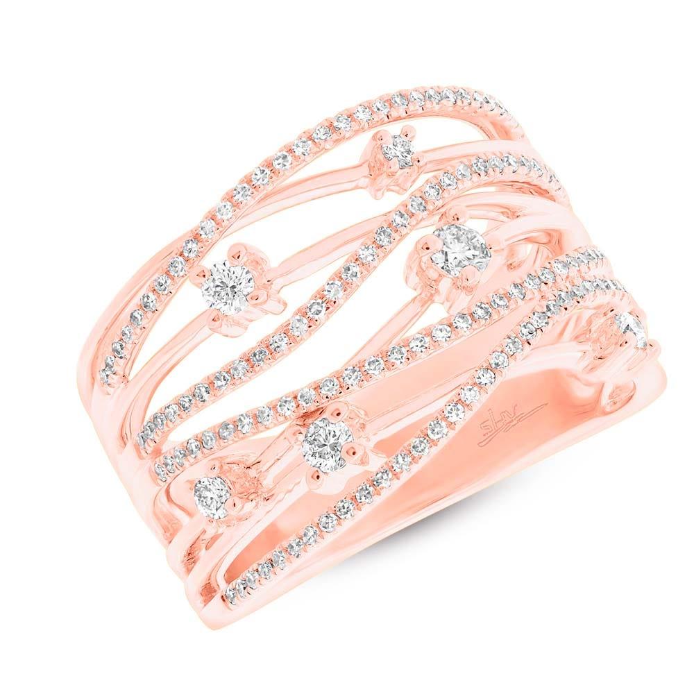Shy Creation: Diamond Bridge Right-Hand Fashion Ring in 14k Rose Gold