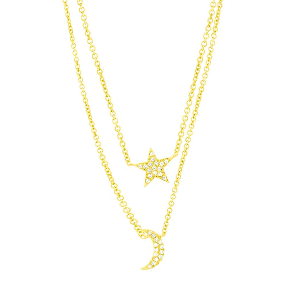 Shy Creation  Crescent Moon Layered Necklace in 14k Yellow Gold SC55004371