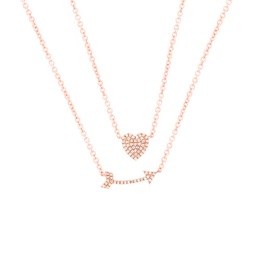 Shy Creation  Arrow Layered Necklace in 14k Rose Gold SC55004378
