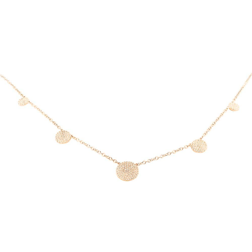 Shy Creation Diamond Cluster Layer Necklace in 14k Rose Gold SC55004381