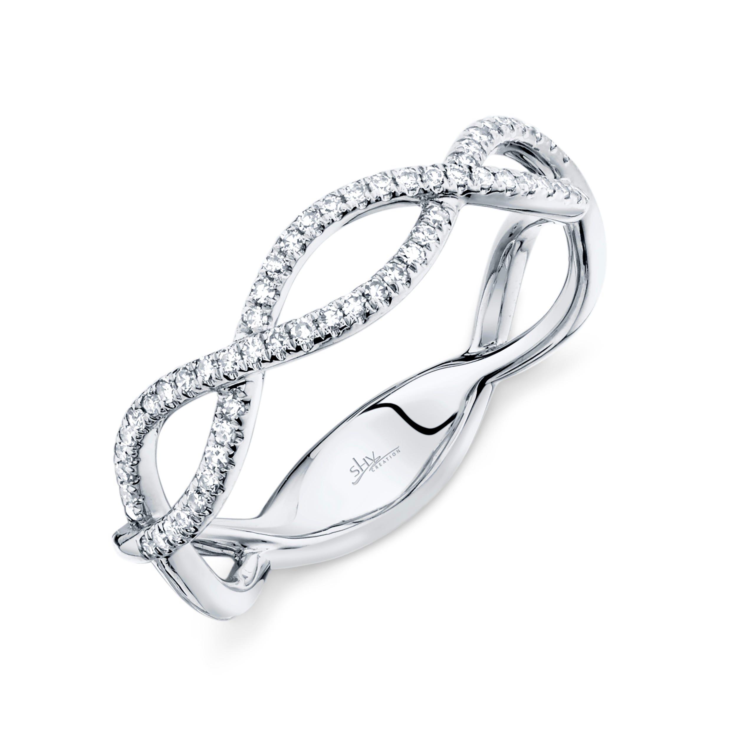 Shy Creation: Diamond Crisscross Open Fashion Ring in 14k White Gold