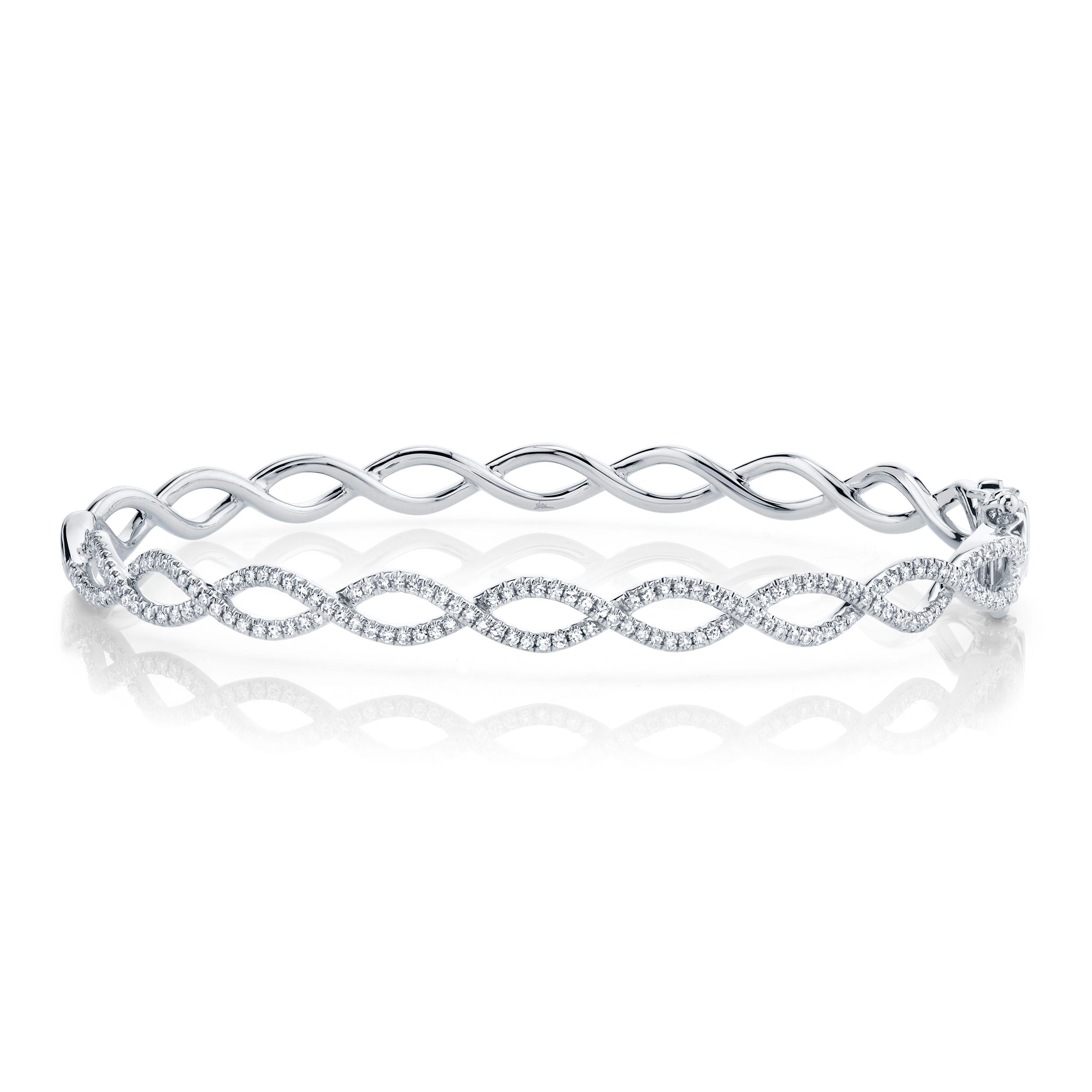 Shy Creation Diamond Crisscross Bangle Bracelet in 14k White Gold SC55004965ZS