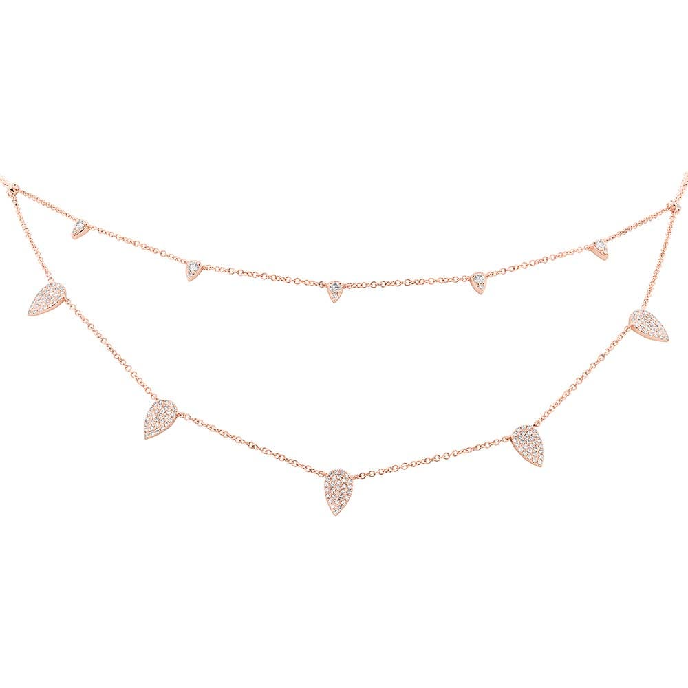 Shy Creation Diamond Pear-Shape Dangle Layered Necklace in Rose Gold SC55004622
