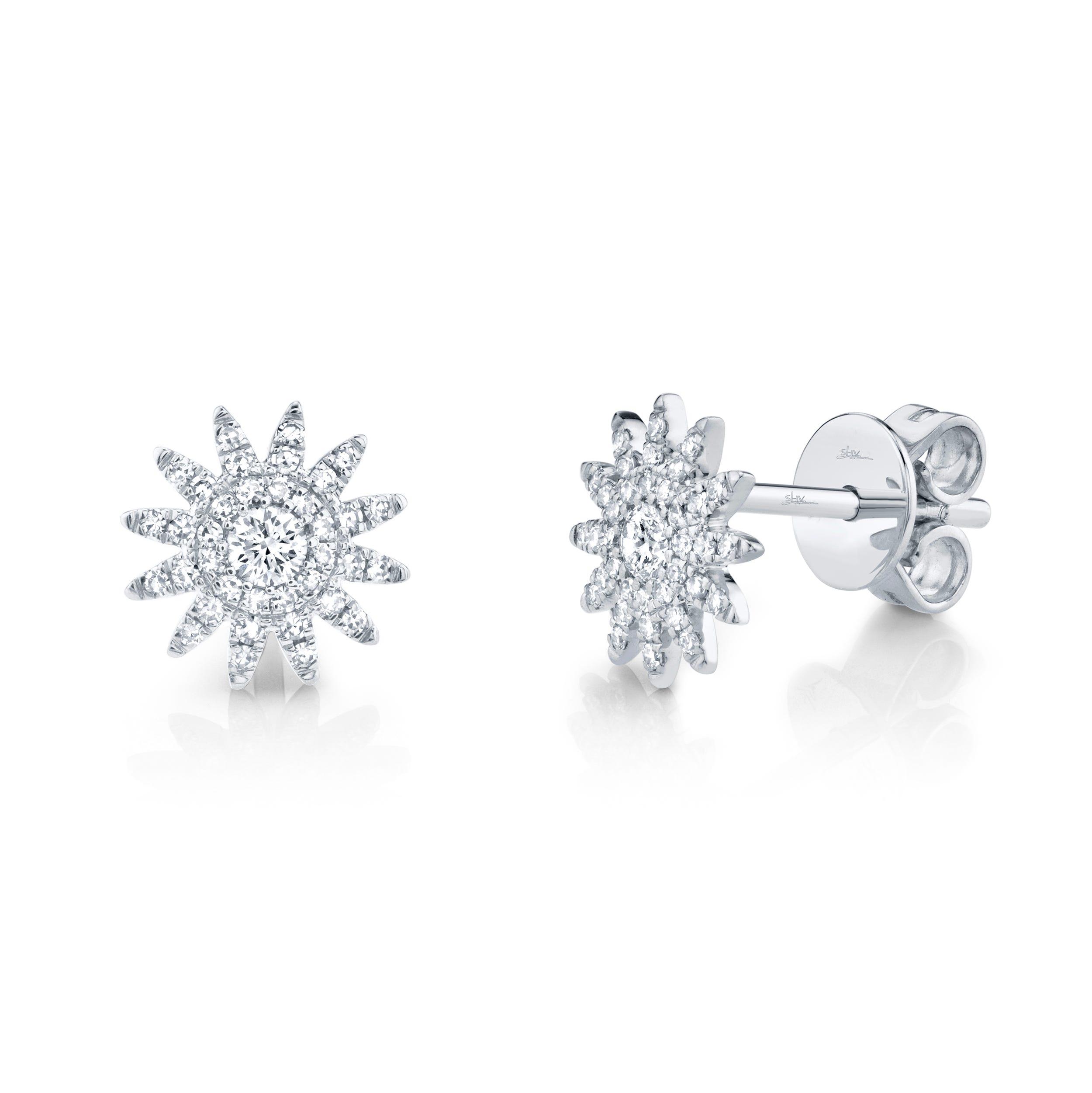 Shy Creation: Diamond Starburst Earrings in 14k White Gold
