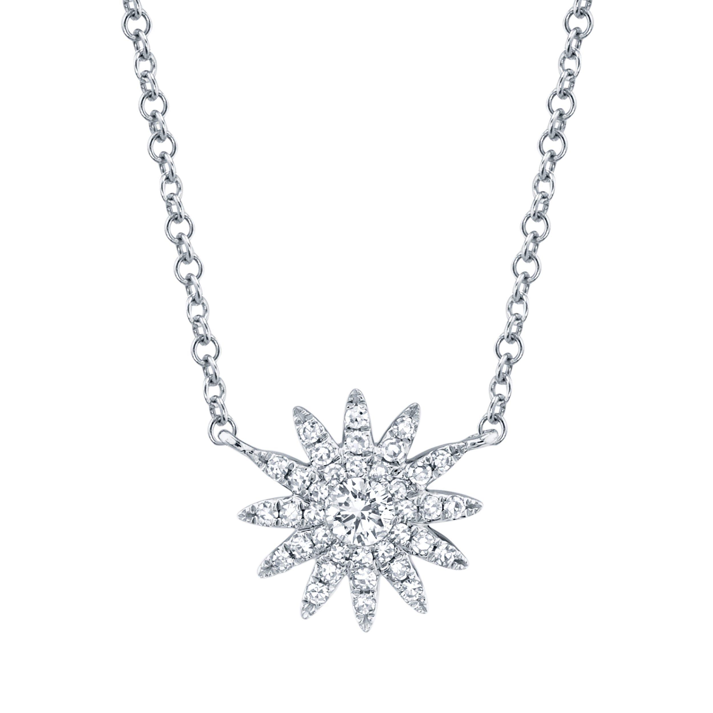 Shy Creation: Diamond Starburst Necklace in 14k White Gold
