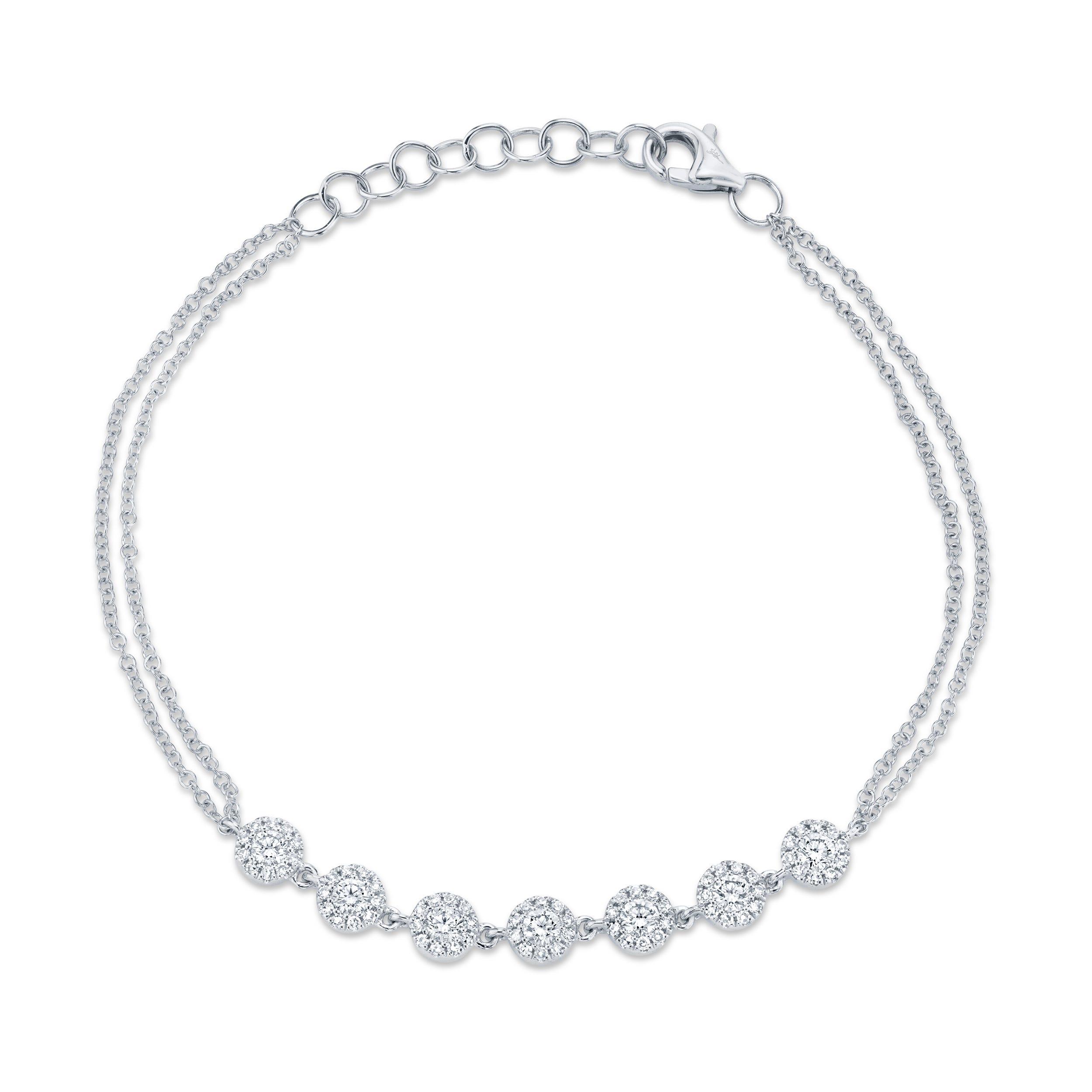 Shy Creation Diamond Cluster Link Bracelet in 14k White Gold SC55004941