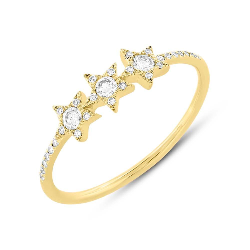 Shy Creation: Diamond Star Ring in 14k Yellow Gold