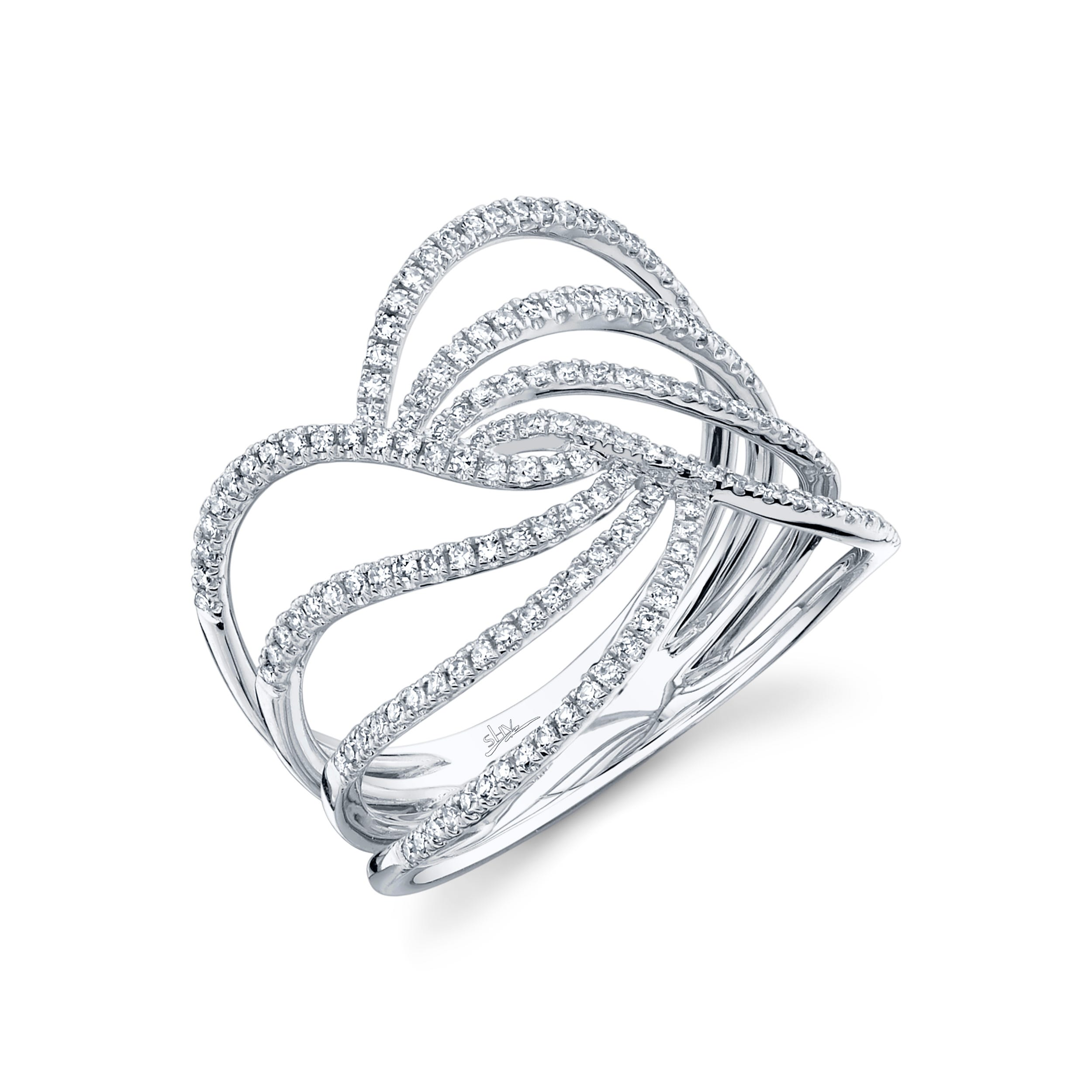 Shy Creation: Diamond Open Swirl Fashion Ring in 14k White Gold
