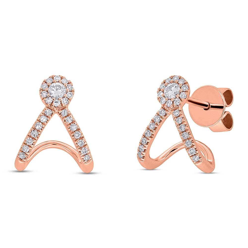 Shy Creation: Diamond Wraparound Stud Earrings in 14k Rose Gold