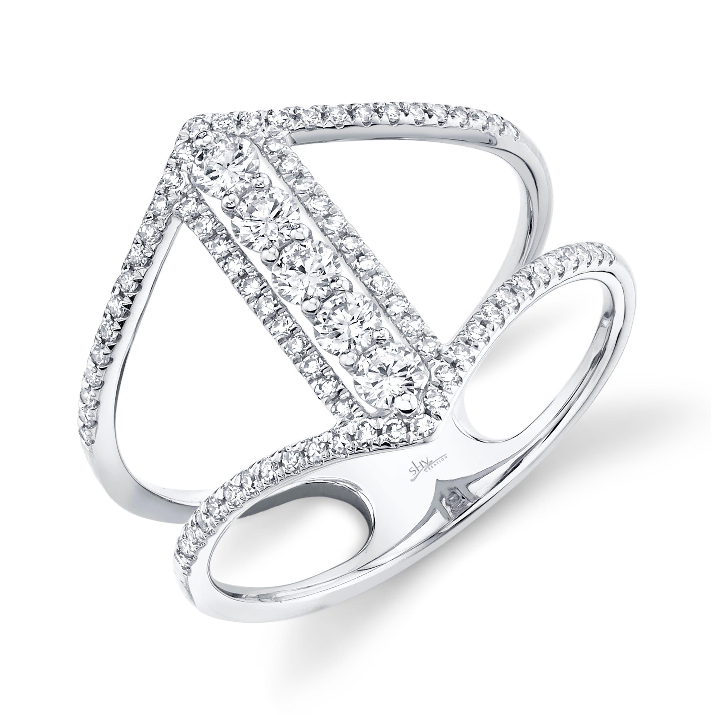 Shy Creation Diamond Open Bar Fashion Ring in 14k White Gold SC55005463