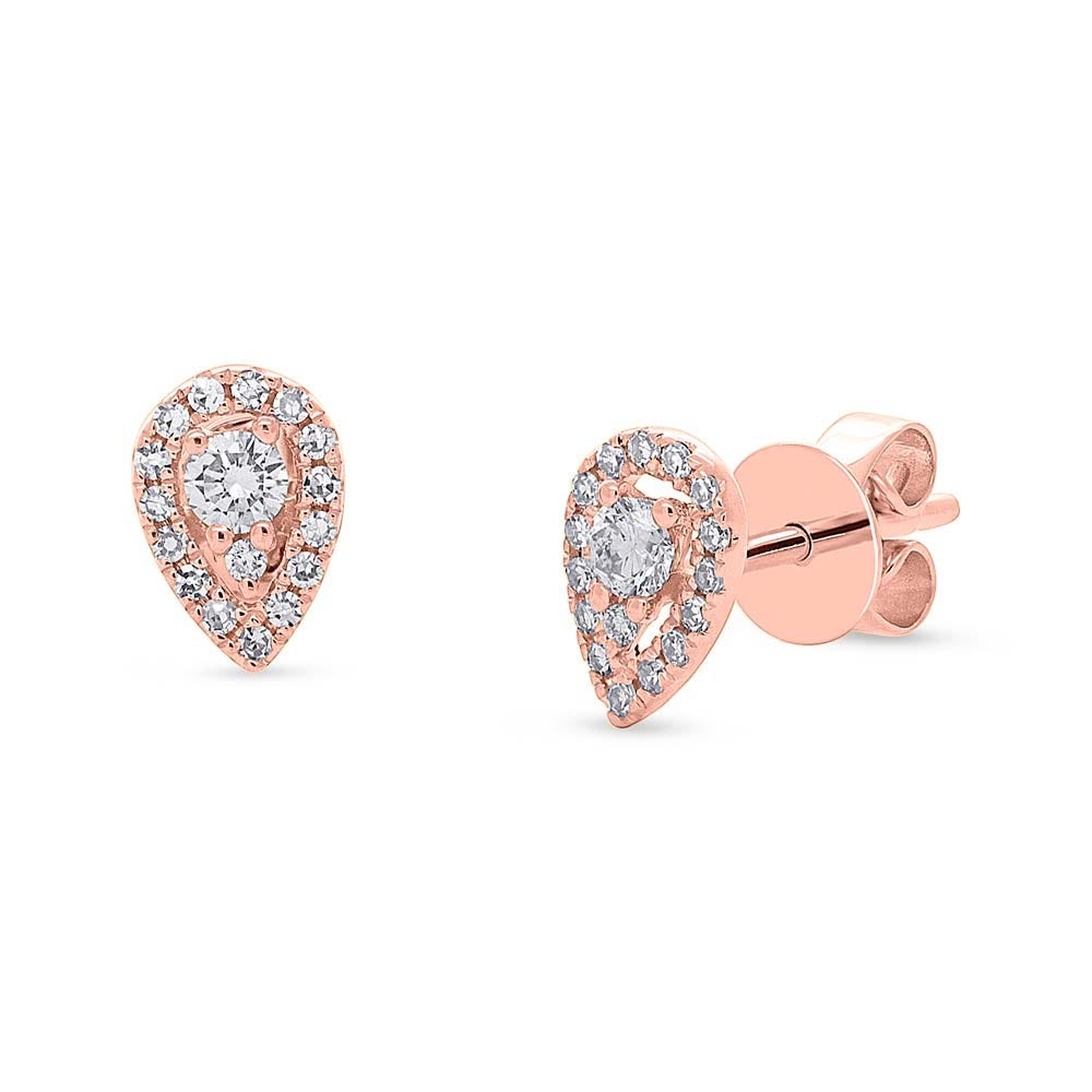 Shy Creation Diamond Pear Halo Stud Earrings in 14k Rose Gold SC55005485