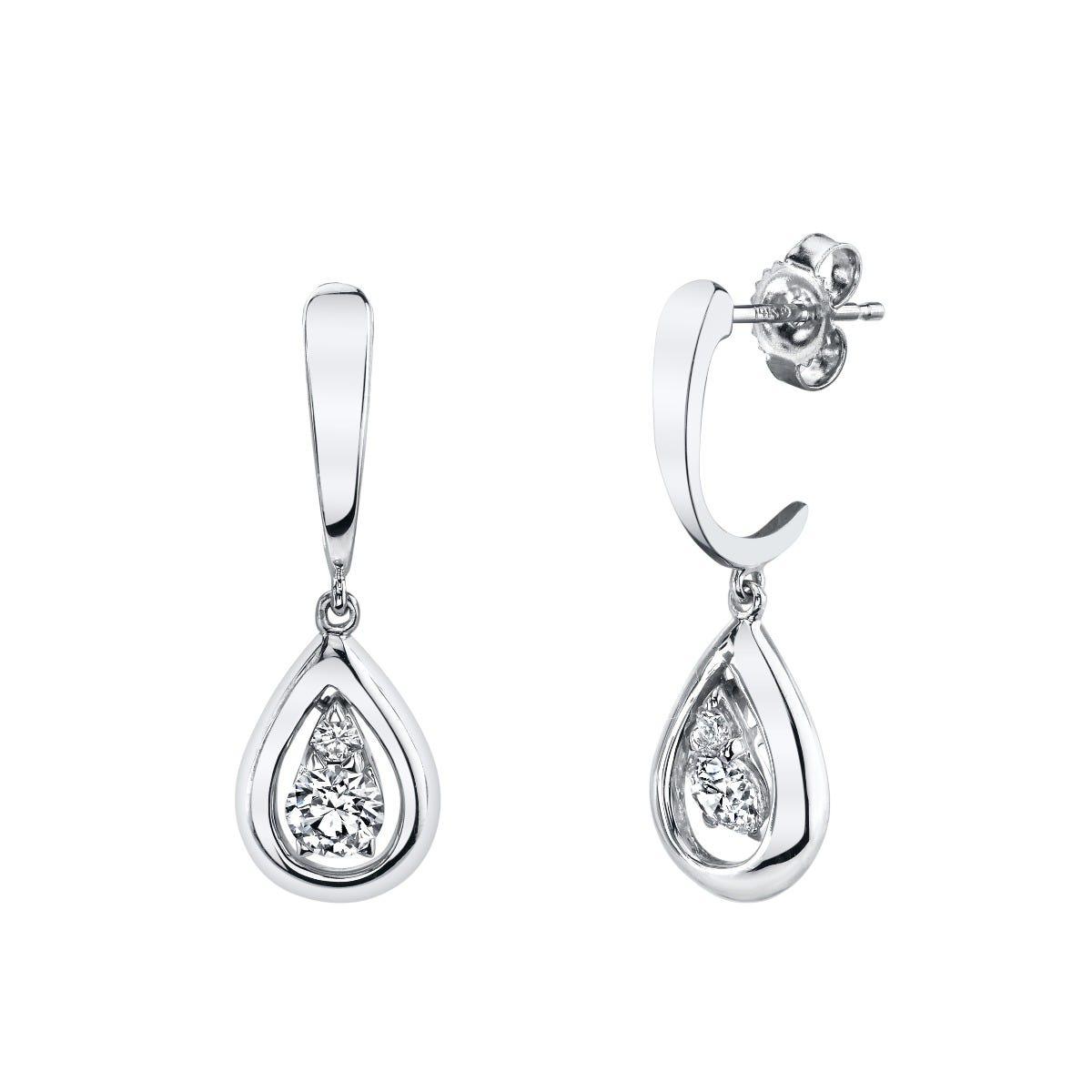 Sirena 1/4ctw. Diamond Dangle Fashion Earrings in 14k White Gold