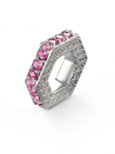 October Pink Sapphire Keepsake Slider