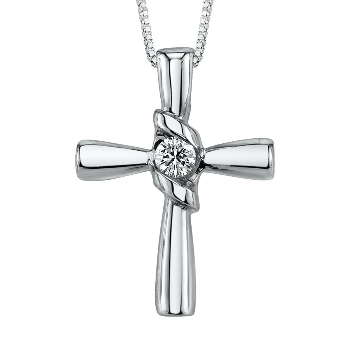 Sirena Diamond Cross Pendant in 10k White Gold