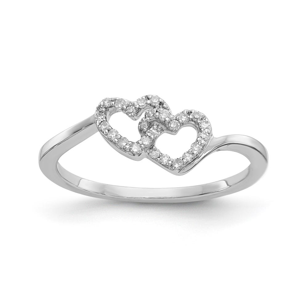 Diamond Double Interlocking Heart Promise Ring in Sterling Silver