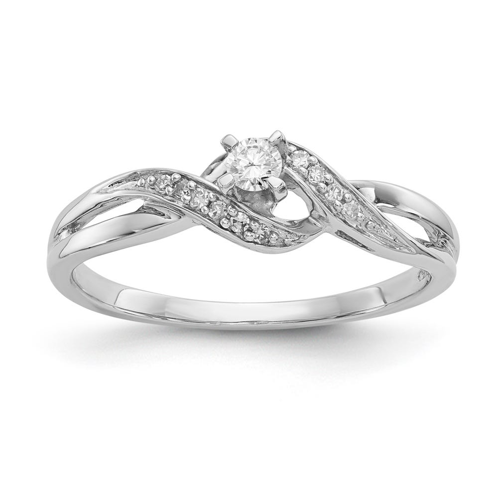 Bypass Twist Diamond Promise Ring in Sterling Silver