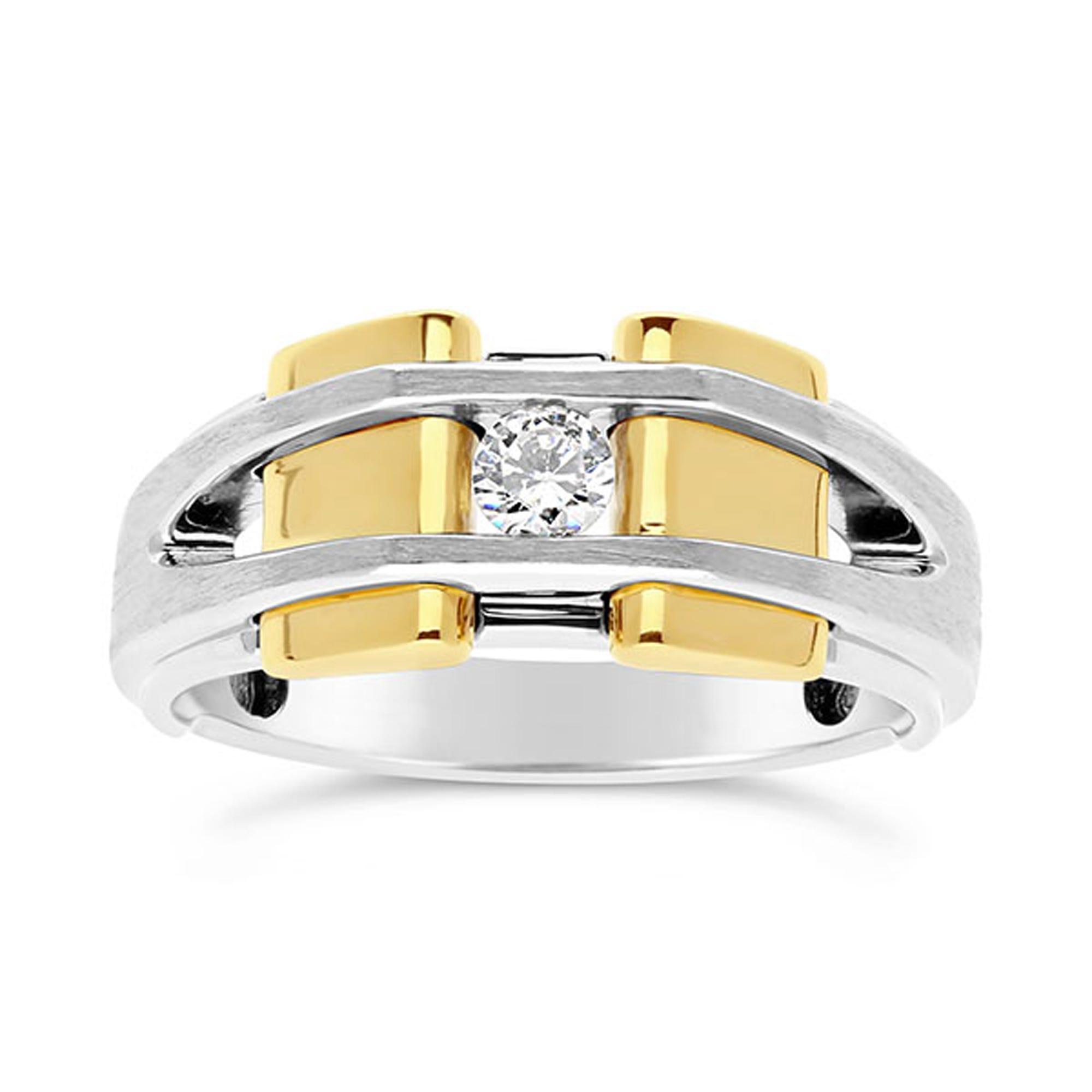IBGoodman Two-Tone 1/5ctw. Diamond Solitaire Men's Fashion Ring