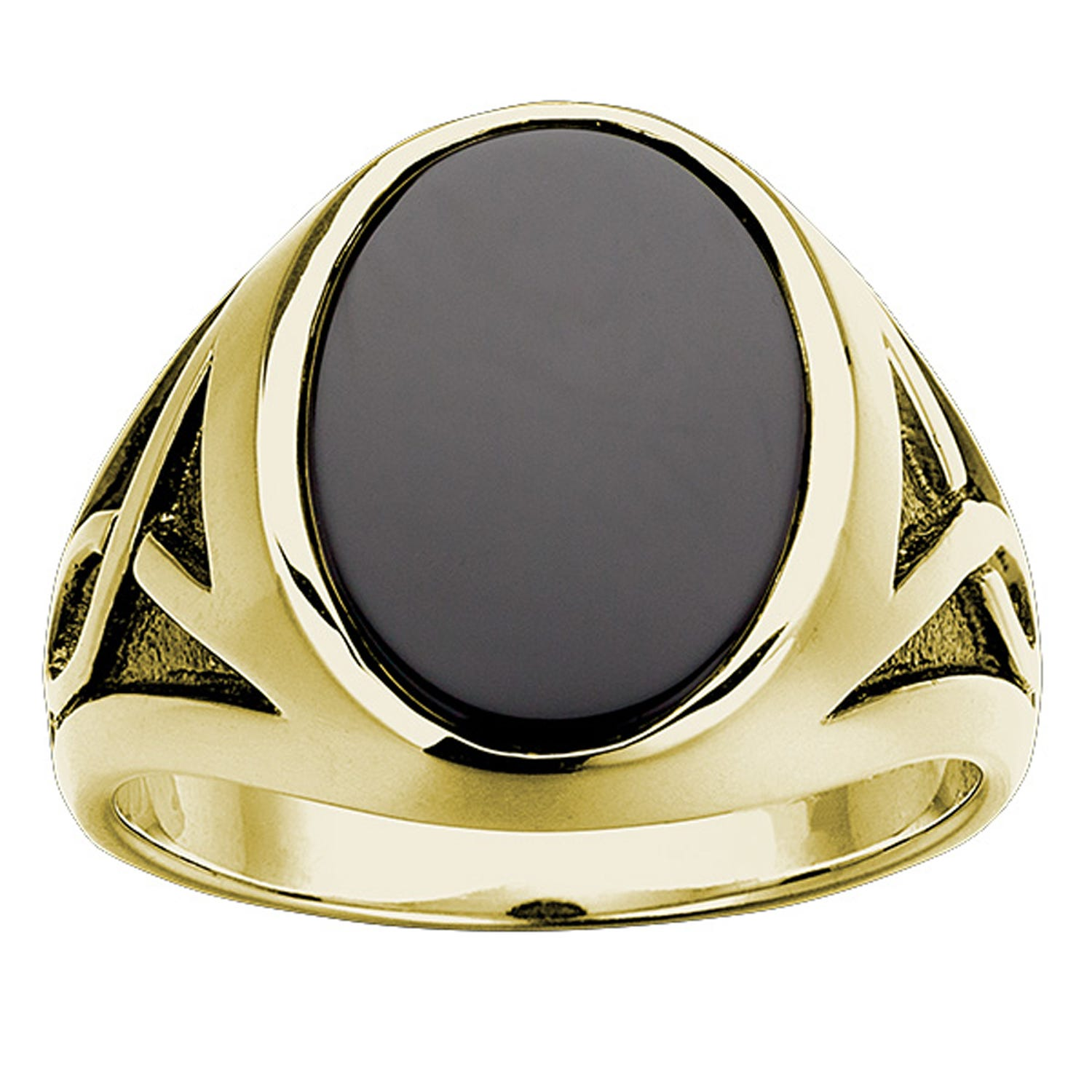 IBGoodman Oval Onyx Ring in 10k Yellow Gold