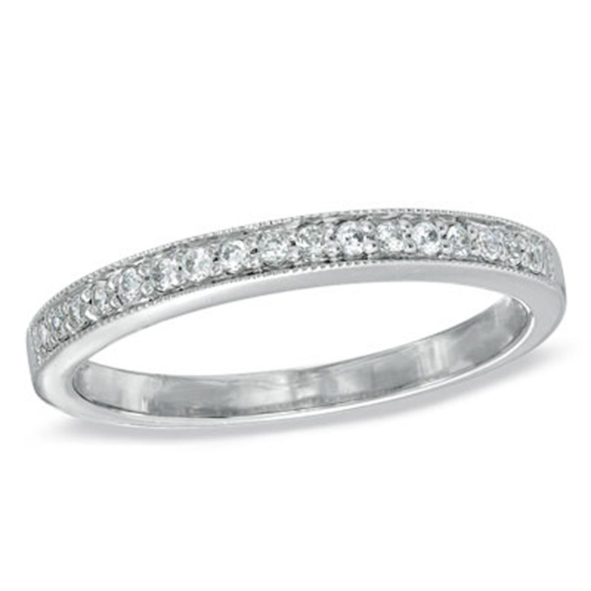 Ladies 10k White Gold milgrain finished .20ct tw diamond band
