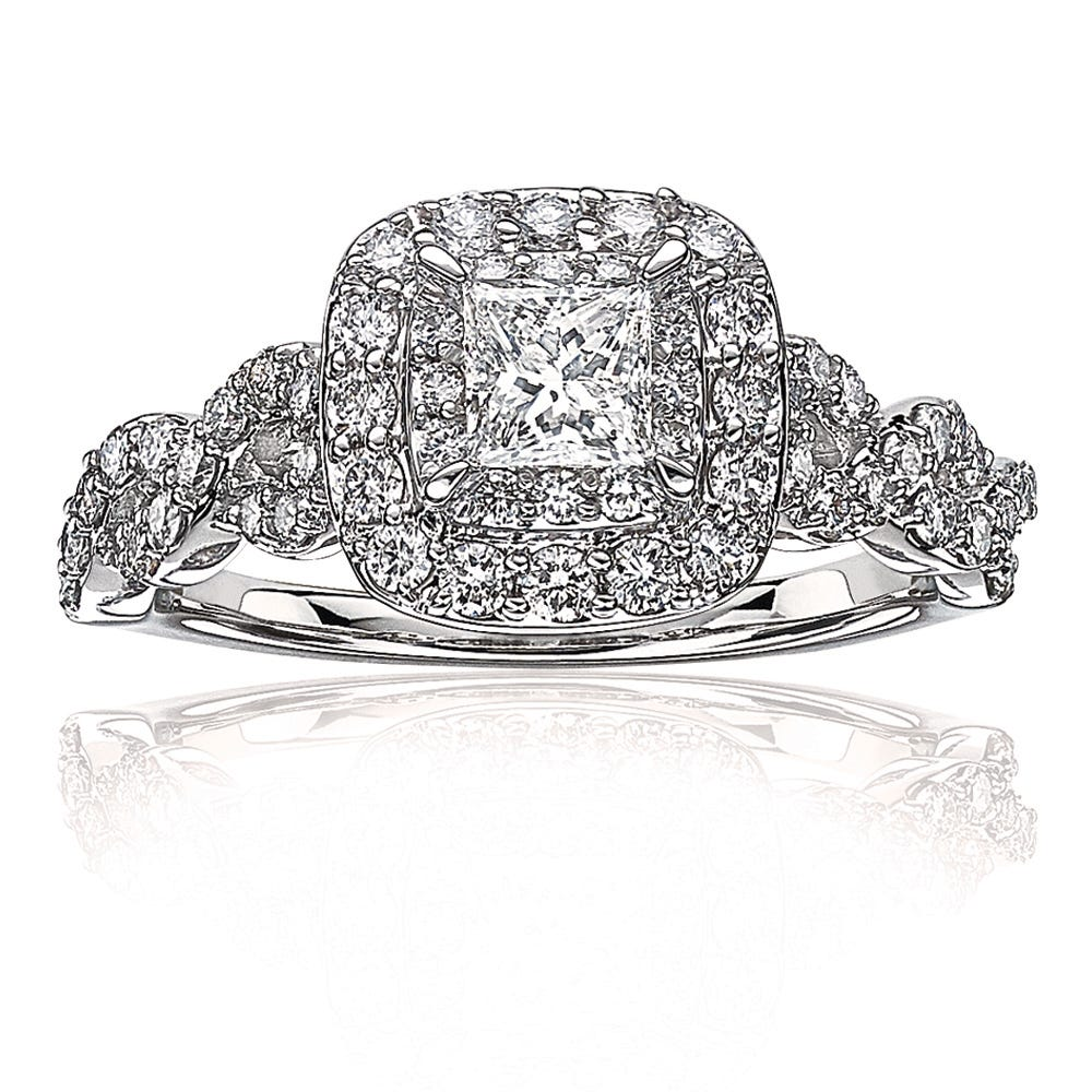 Sienna. Princess-Cut Double Halo Diamond Engagement Ring