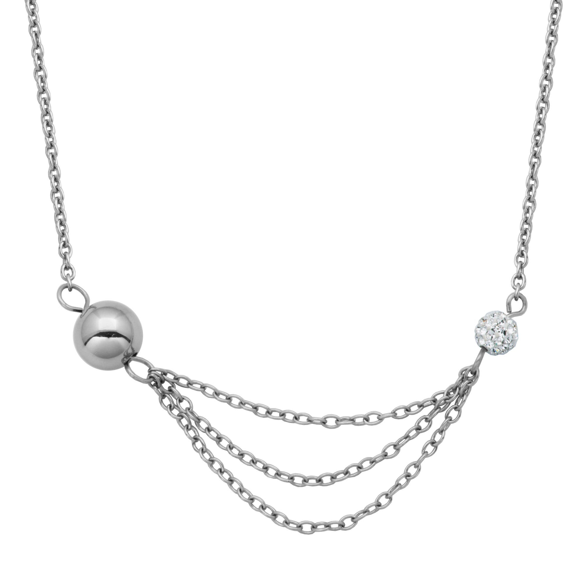 Multi-Chain Fashion Necklace with Crystals in Stainless Steel