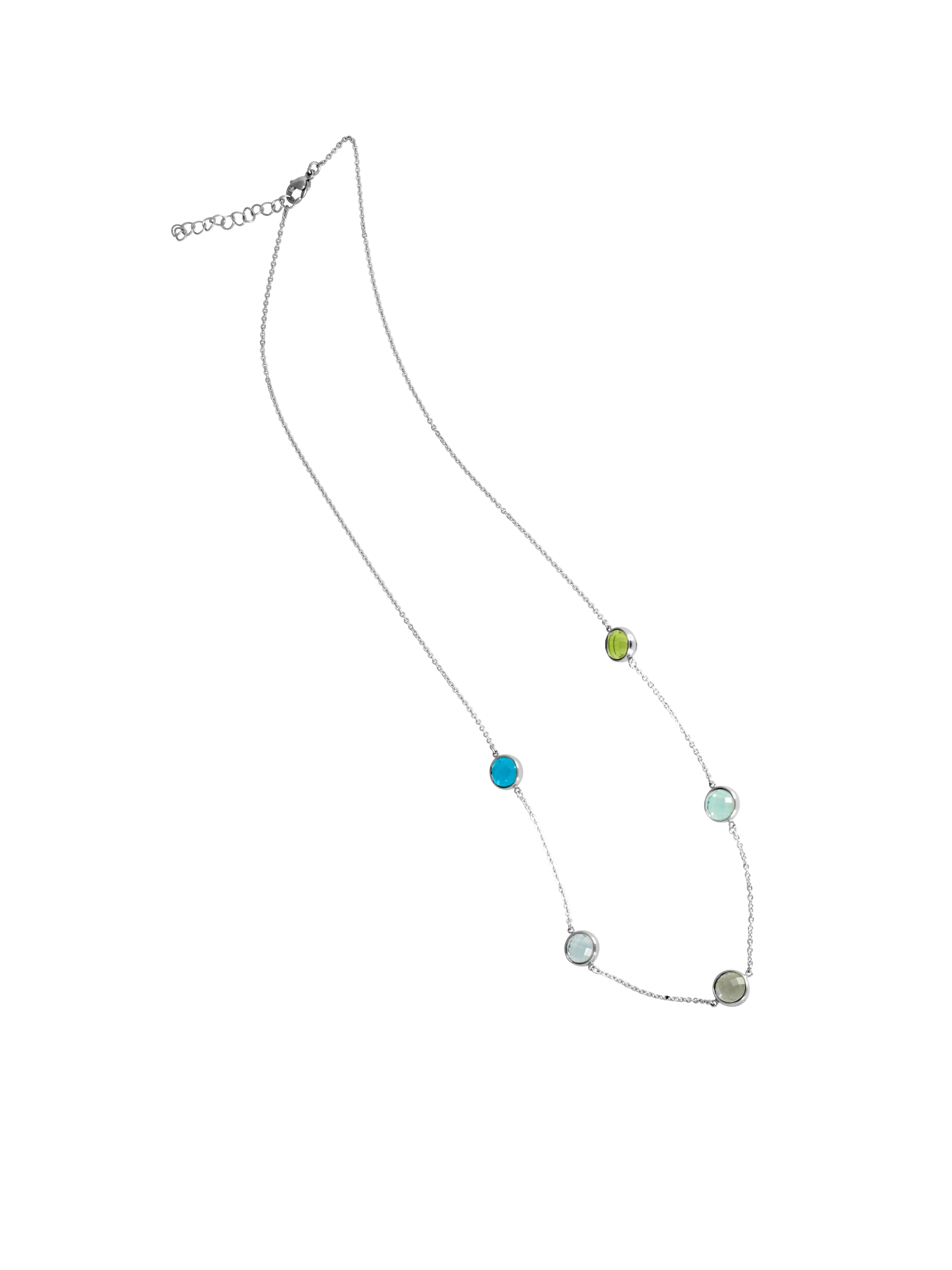 Rainbow Glass Disc Fashion Necklace in Stainless Steel