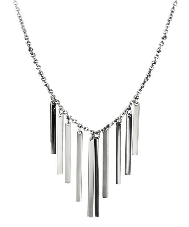 Rectangle Fringe Fashion Necklace in Stainless Steel