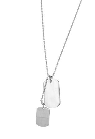 Double Dog tag Fashion Necklace in Stainless Steel