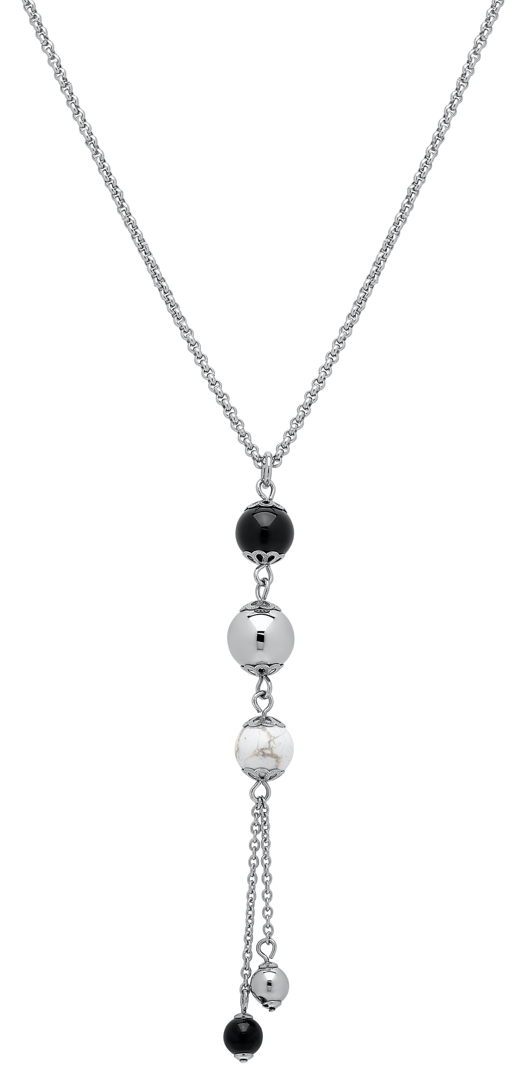 Triple Bead Lariat Fashion Necklace in Stainless Steel