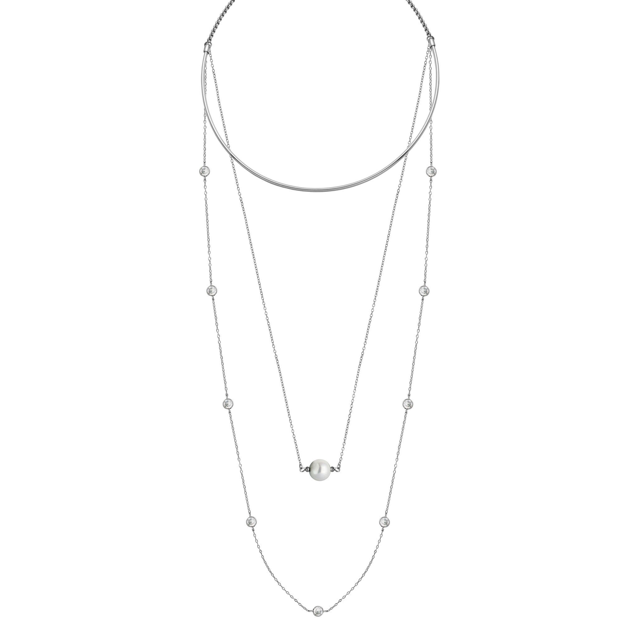 Three Layer Fashion Necklace in Stainless Steel