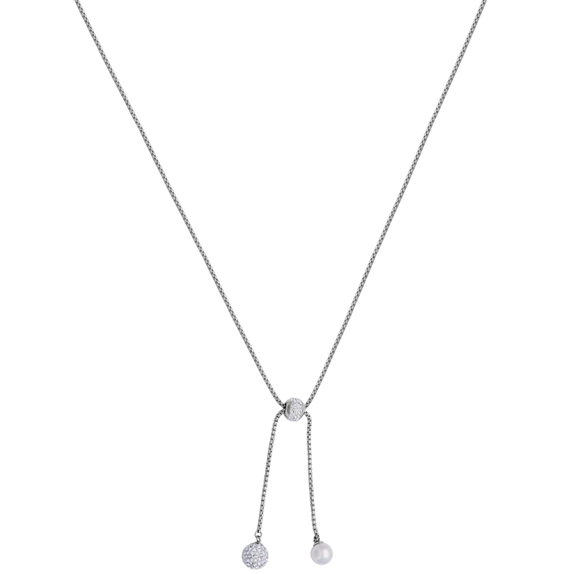 Crystal and Shell Pearl Stainless Steel Fashion Necklace