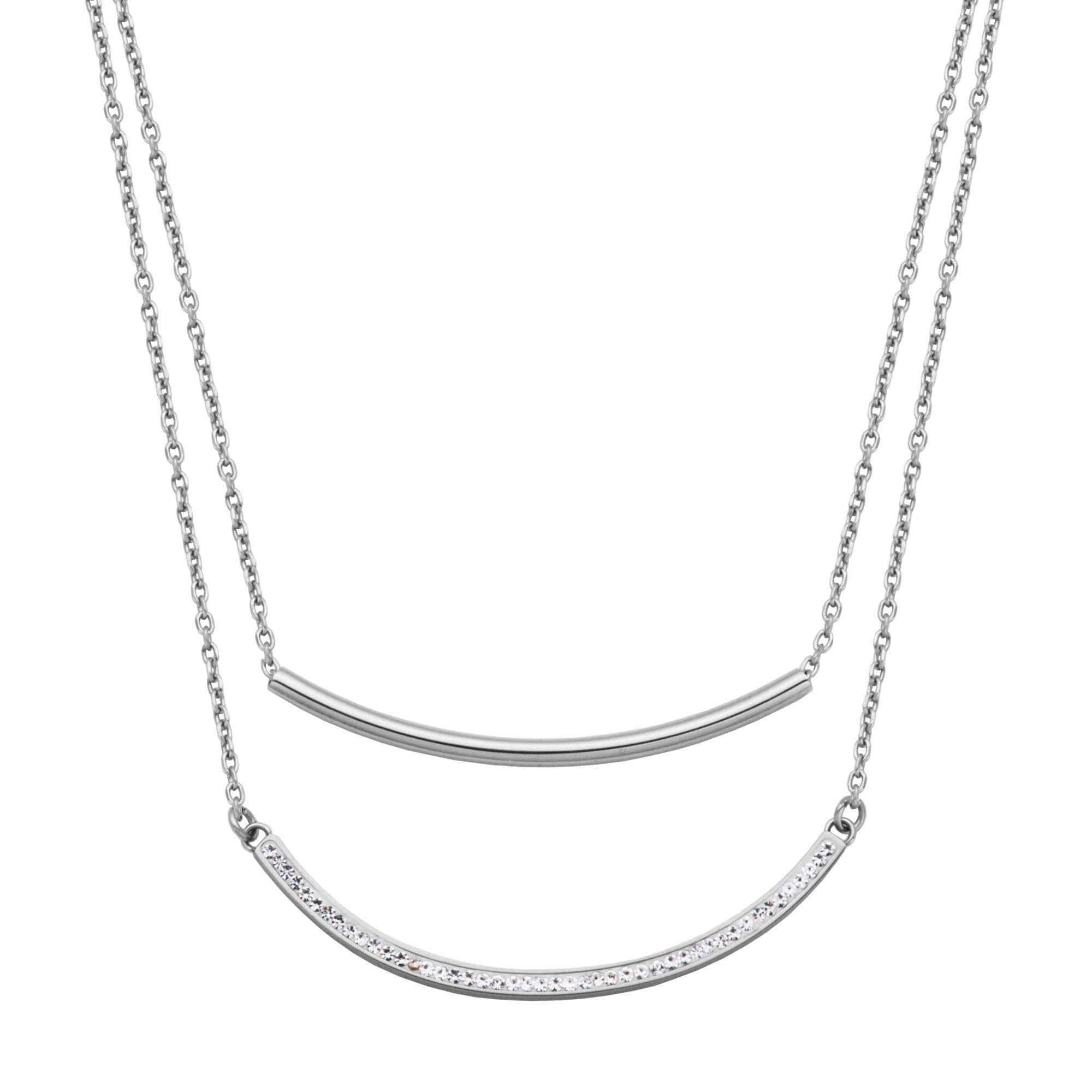 Double Layer Curved Bar Fashion Necklace in Stainless Steel