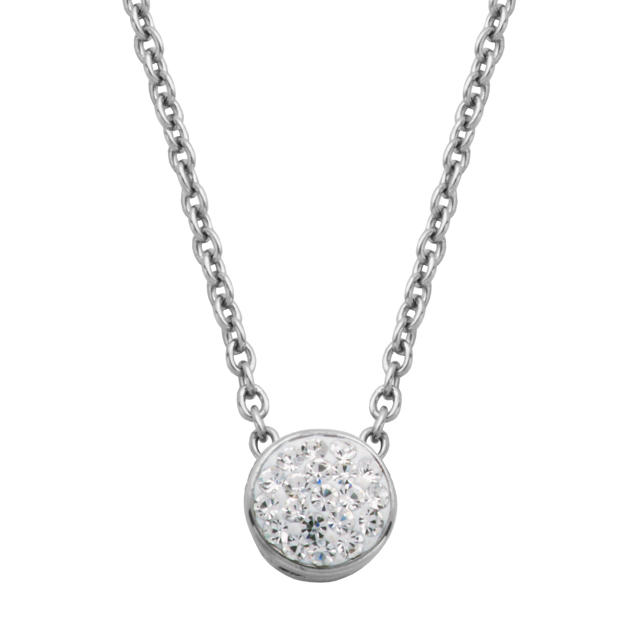 Bezel Set Crystal Fashion Necklace in Stainless Steel